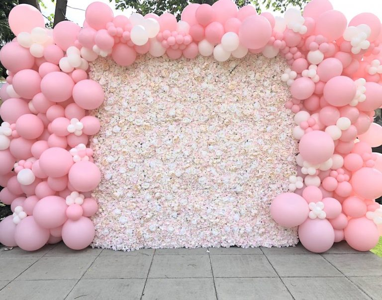 Pink Balloons And Flower Wall