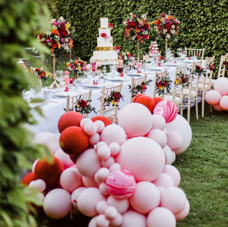 Garden Wedding Pink Balloons