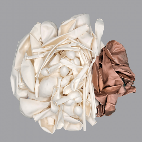 Balloonista White and Chrome Rose Gold balloon kit flat.png