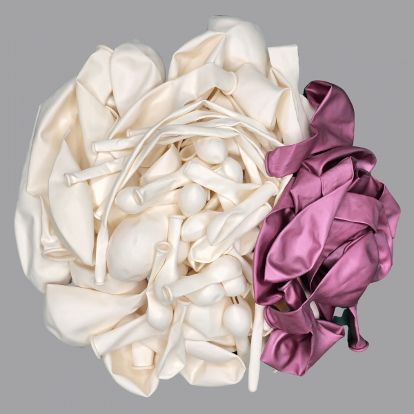 Balloonista White and Chrome Pink Fuscia mauve balloon kit flat.png