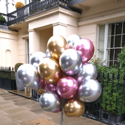 Balloonista Latex Bunch Of Chrome Latex Balloons Qualatex Chrme Mauve Silver Gold