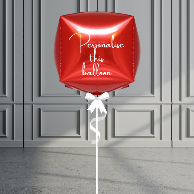 Balloonista Personalised Cube Balloon Helium Filled Red