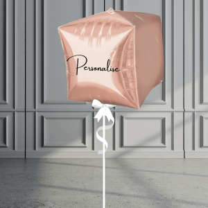 Balloonista Personalised Cube Balloon Helium Filled Rose Gold