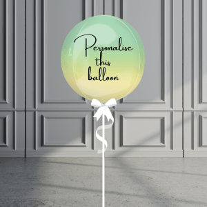 Balloonista Personalised Ombre Orb Balloon Helium Filled Green Yellow