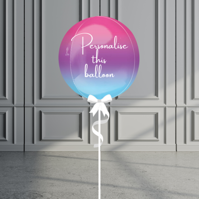 Balloonista Personalised Ombre Orb Balloon Helium Filled Hot Pink Purple Blue