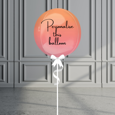 Balloonista Personalised Ombre Orb Balloon Helium Filled Orange Pink