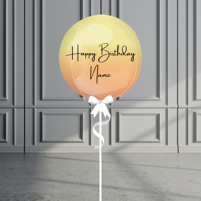 Balloonista Personalised Ombre Orb Balloon Helium Filled Orange Yellow