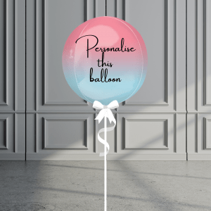 Balloonista Personalised Ombre Orb Balloon Helium Filled Pink Blue