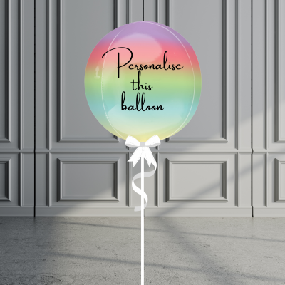 Balloonista Personalised Ombre Orb Balloon Helium Filled Rainbow