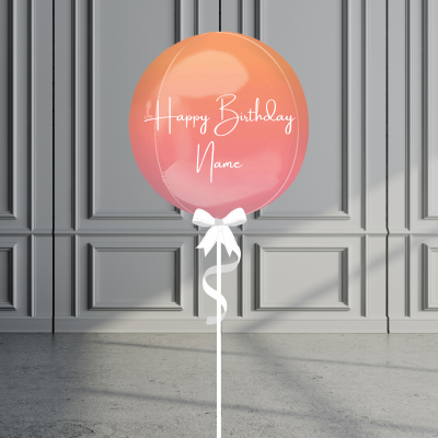Balloonista Personalised Ombre Orb Balloon Helium Filled Red Orange