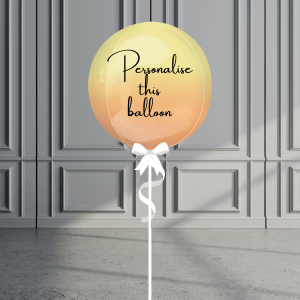Balloonista Personalised Ombre Orb Balloon Helium Filled Yellow Orange