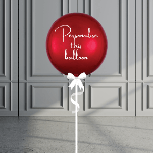 Balloonista Personalised Orb Balloon Helium Filled Red