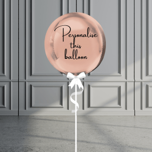 Balloonista Personalised Orb Balloon Helium Filled Rose Gold