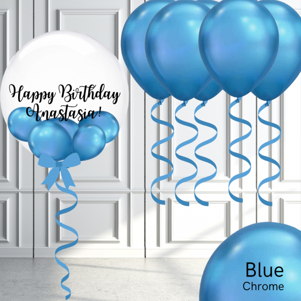 Balloonista Bubble And Latex Balloon Package Chrome Blue