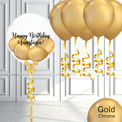 Balloonista Bubble And Latex Balloon Package Chrome Gold