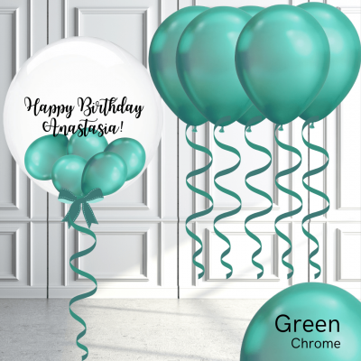 Balloonista Bubble And Latex Balloon Package Chrome Green