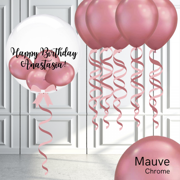 Balloonista Bubble And Latex Balloon Package Chrome Mauve Pink