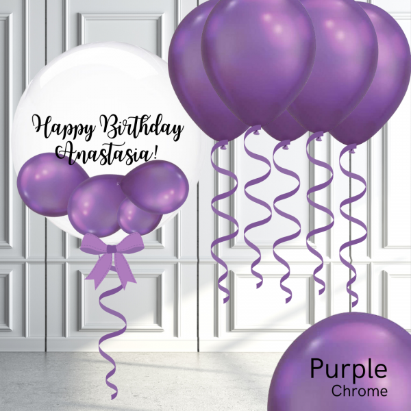 Balloonista Bubble And Latex Balloon Package Chrome Purple