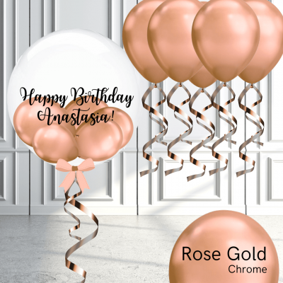 Balloonista Bubble And Latex Balloon Package Chrome Rose Gold