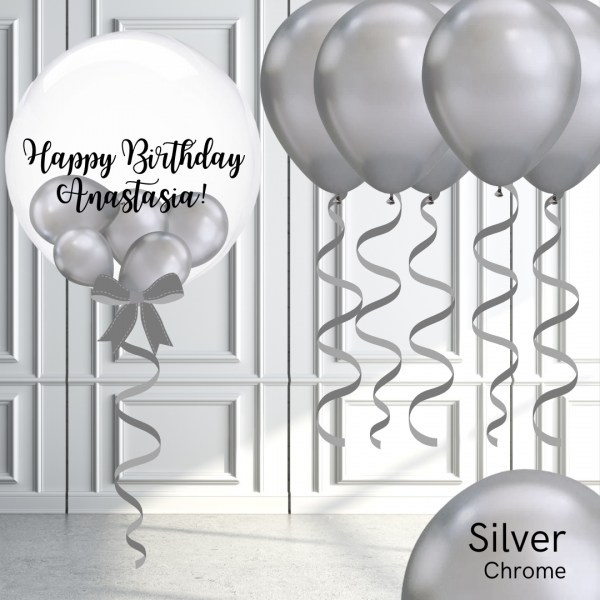 Balloonista Bubble And Latex Balloon Package Chrome Silver