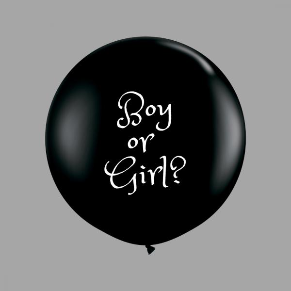 Balloonista 3 Foot Black Gender Reveal Balloon Boy? Girl?