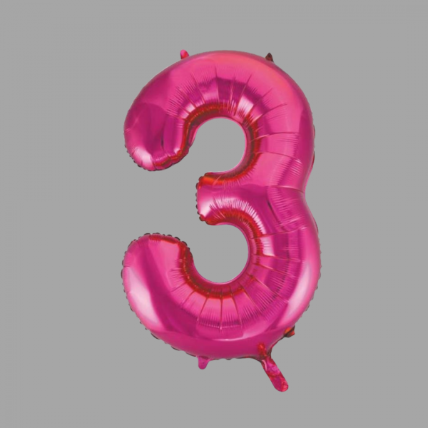 Balloonista 34 Inch Hot Pink Glitz Supershape Number 3 Three