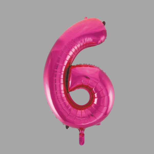Balloonista 34 Inch Hot Pink Glitz Supershape Number 6 Six