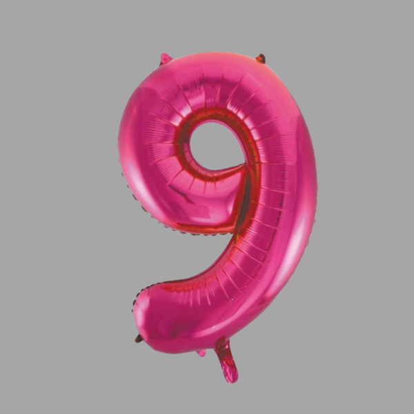 Balloonista 34 Inch Hot Pink Glitz Supershape Number 9 Nine