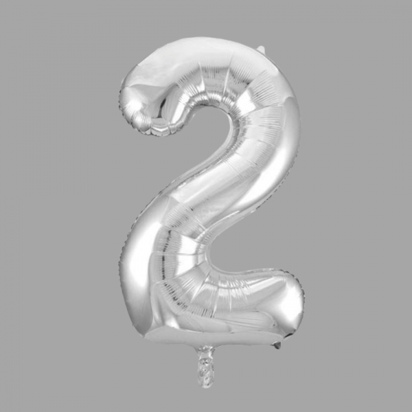 Balloonista 34 Inch Giant Superfoil Silver Number 2