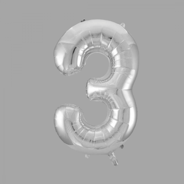 Balloonista 34 Inch Giant Superfoil Silver Number 3