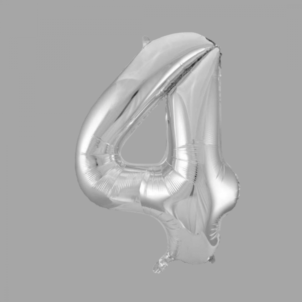 Balloonista 34 Inch Giant Superfoil Silver Number 4