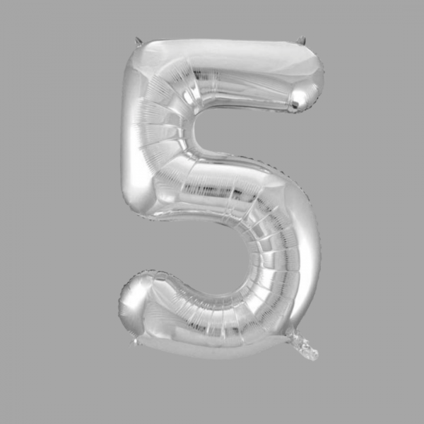 Balloonista 34 Inch Giant Superfoil Silver Number 5