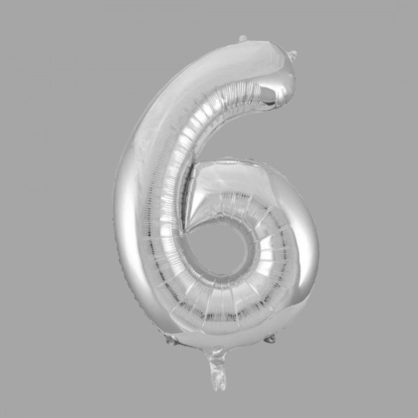 Balloonista 34 Inch Giant Superfoil Silver Number 6