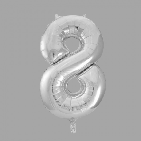 Balloonista 34 Inch Giant Superfoil Silver Number 8