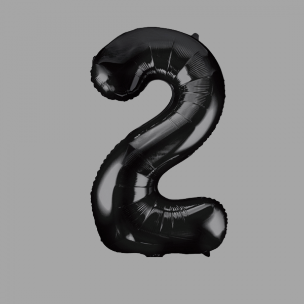 Balloonista Black Super Shape Large Number 2 Two