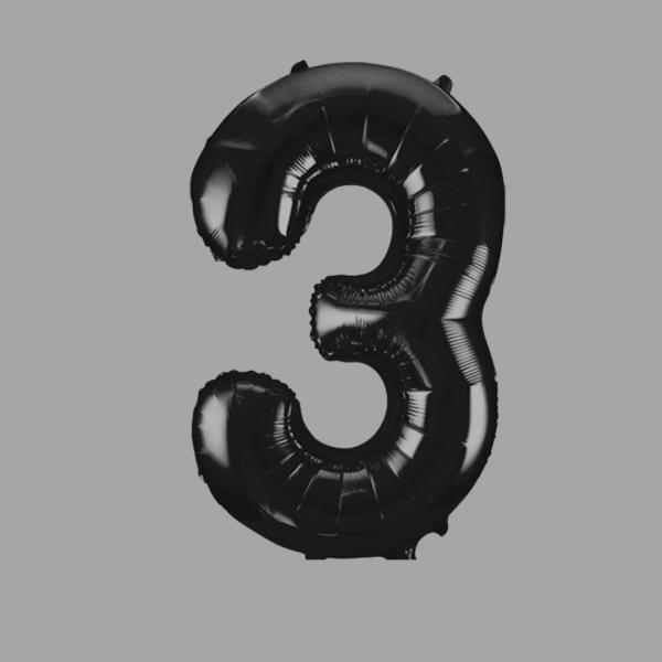 Balloonista Black Super Shape Large Number 3 Three