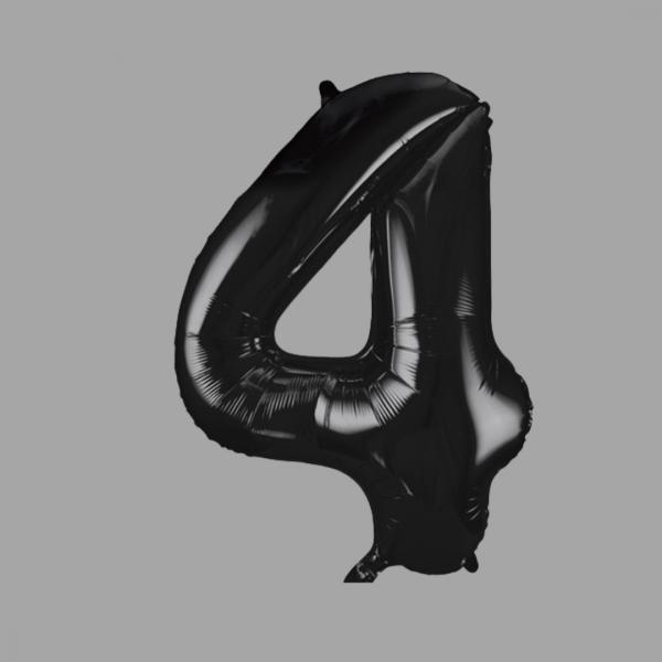 Balloonista Black Super Shape Large Number 4 Four