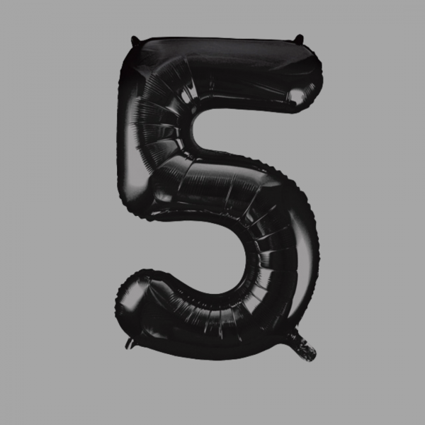 Balloonista Black Super Shape Large Number 5 Five