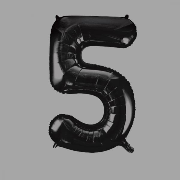 Balloonista Black Super Shape Large Number 5 Five