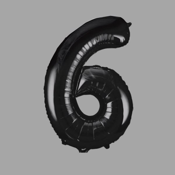 Balloonista Black Super Shape Large Number 6 Six