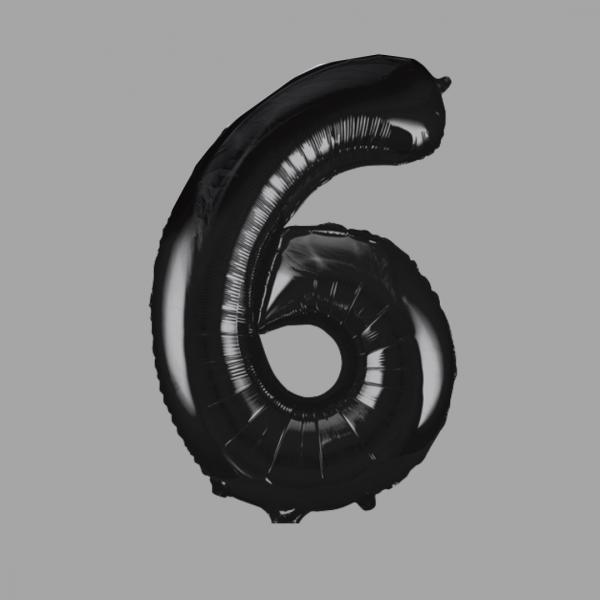 Balloonista Black Super Shape Large Number 6 Six