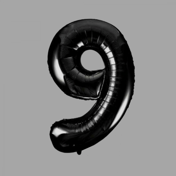 Balloonista Black Super Shape Large Number 9 Nine