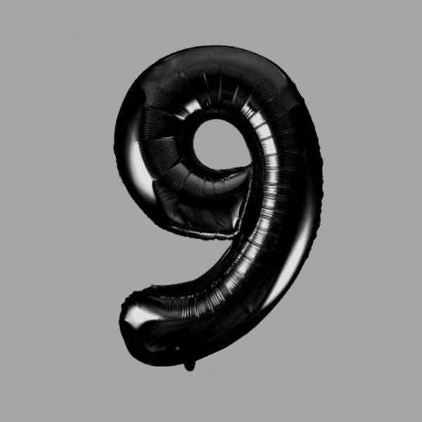 Balloonista Black Super Shape Large Number 9 Nine