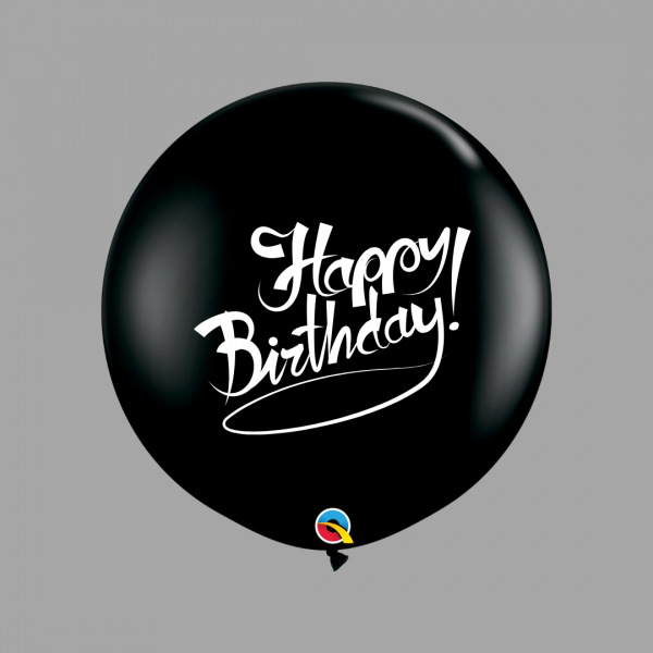 Balloonista Happy Birthday 3 Foot Black