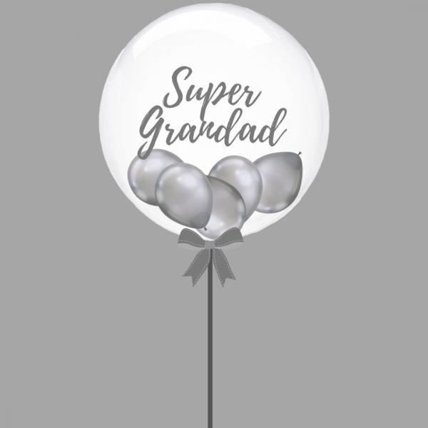 Balloonista Super Grandad Silver Bubble Balloon