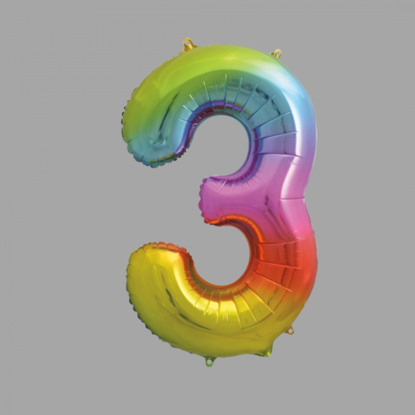 Balloonista Rainbow Supershape Number 3 Three