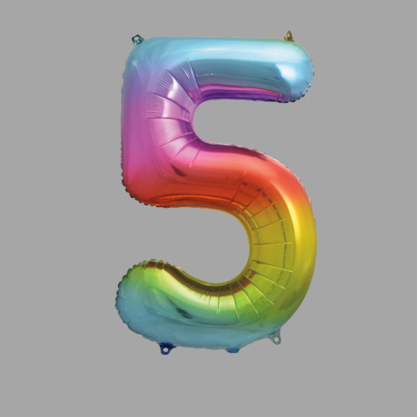 Balloonista Rainbow Supershape Number 5 Five