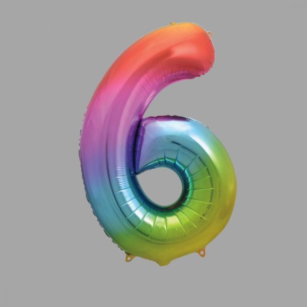 Balloonista Rainbow Supershape Number 6 Six
