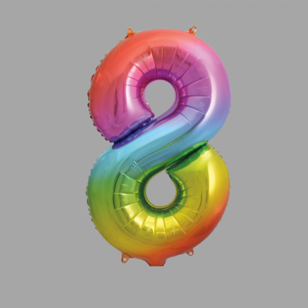 Balloonista Rainbow Supershape Number 8 Eight
