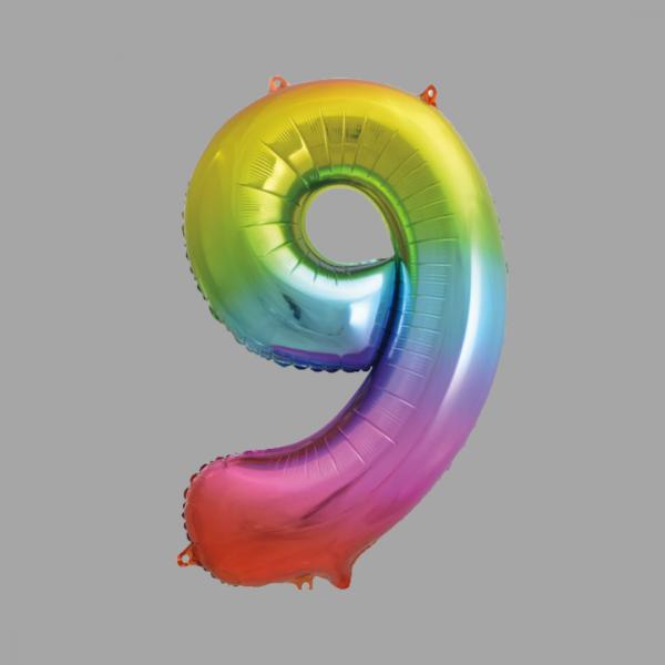 Balloonista Rainbow Supershape Number 9 Nine